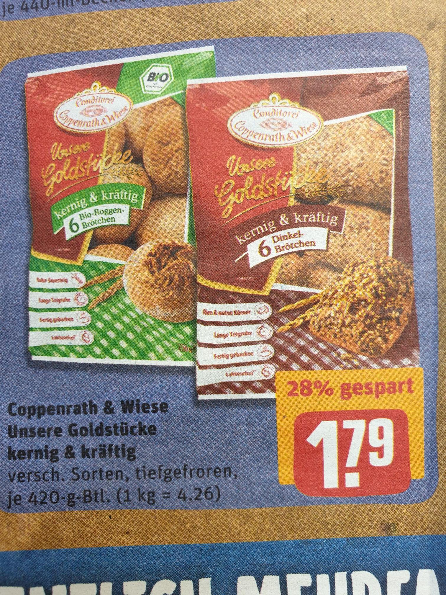 Rewe Coppenrath & Wiese Goldstücke Bio + Dinkelbrötchen, kernig + kräftig  für 1,79€