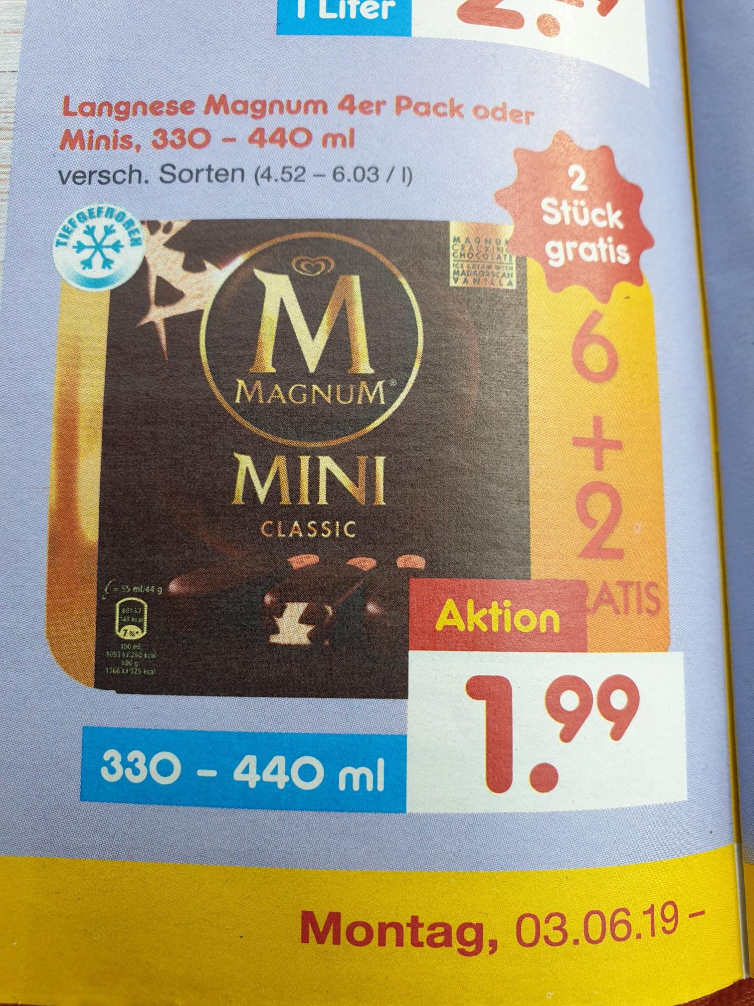 Magnum 4er Pack oder Minis + 2 Gratis 1,99€ und Landliebe Doppelpack 3,33€ bei Netto und teilweise nochmal -15% mit Coupons