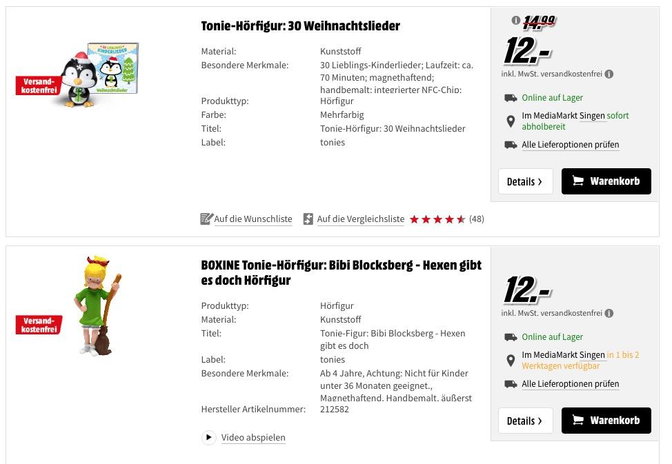 Media Markt Tonies für 12 Euro und  Kreativtonies für  10 Euro