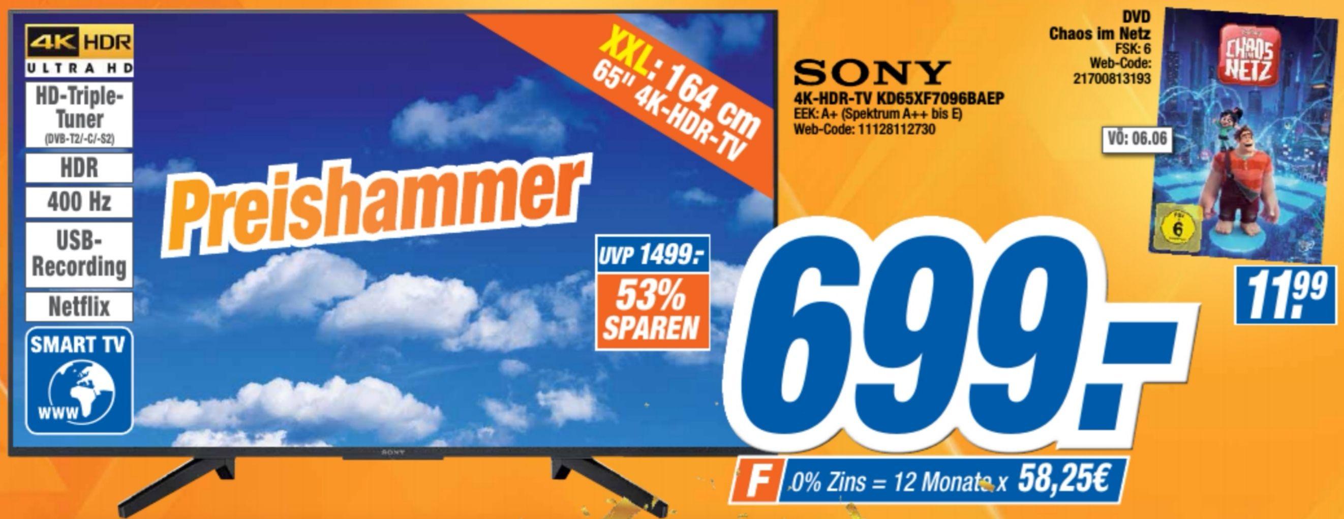 "(Lokal) Sony KD65XF7096BAEP 4K Ultra HD TV (65"", Smart TV, HDR, WLAN, Aufnahmefunktion, HD-Triple-Tuner, DVB-C/S2/T2 HD, 3xHDMI, 3xUSB, CI+"