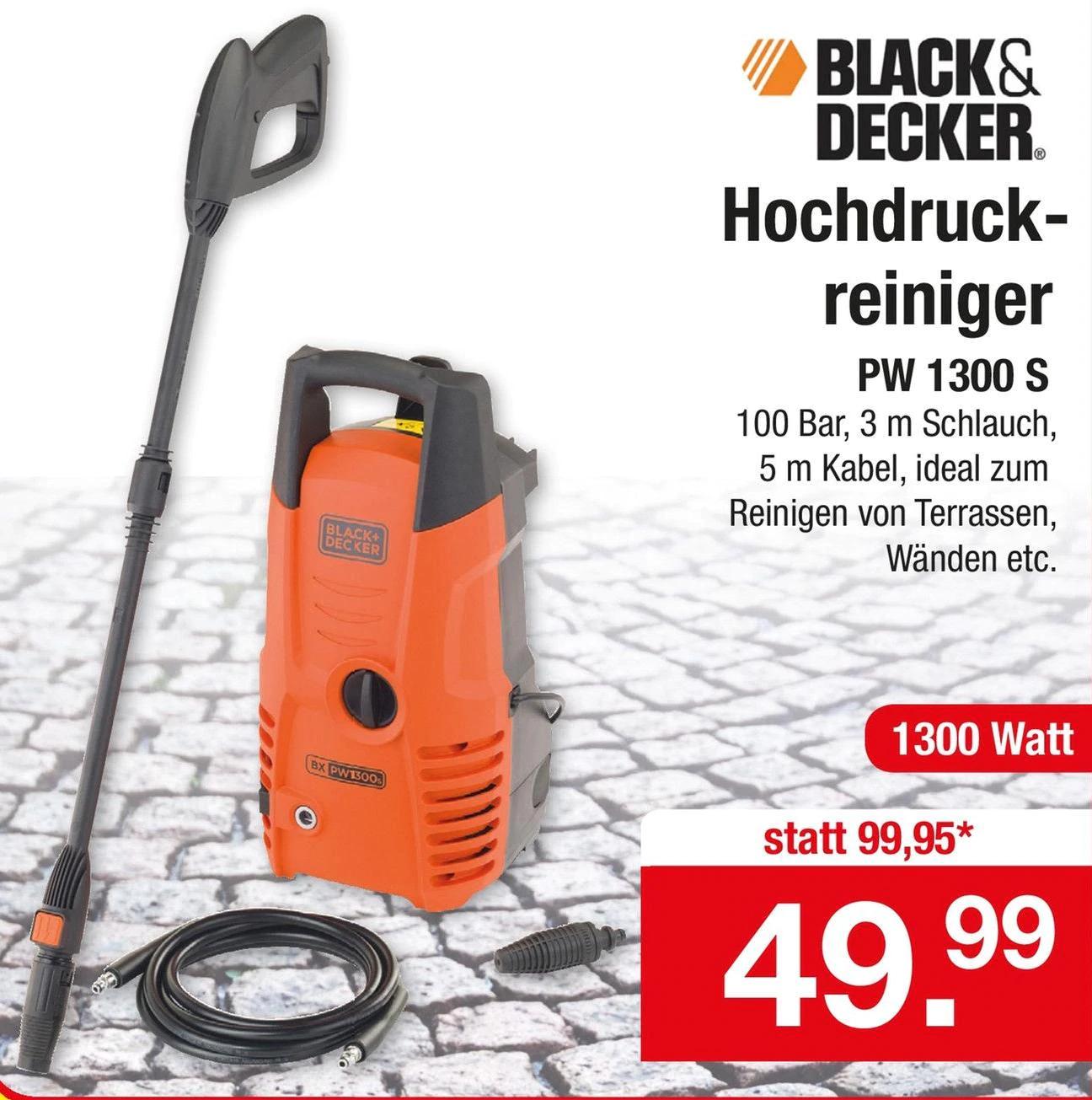[lokal Zimmermann] Black und Decker Pw 1300 S Hochdruckreiniger 1300W 100Bar