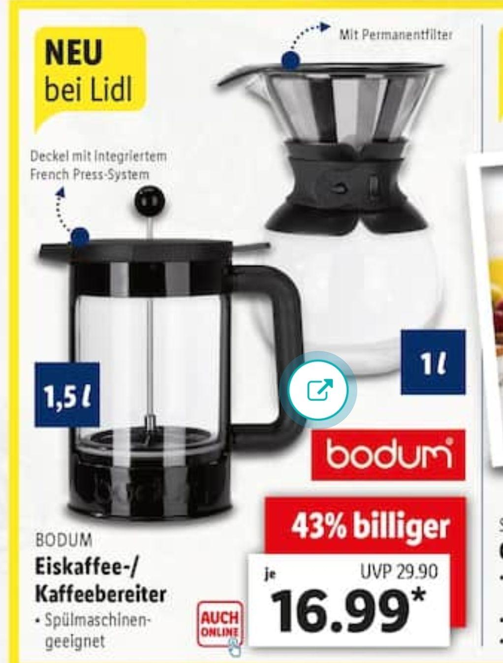 [LIDL] Bodum Eiskaffee- / Kaffebereiter 1,5l bzw. 1l