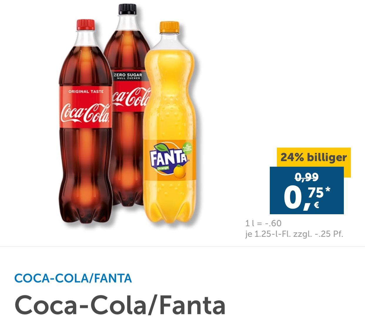 [Lidl Plus - Berlin/Brandenburg] Coca-Cola / Fanta für 75 Cent + Pfand (max. 12 Stück)