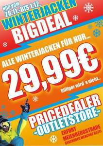 Alle Snowboard-Jacken 29.99€ bei Pricedealer Erfurt [LOKAL]