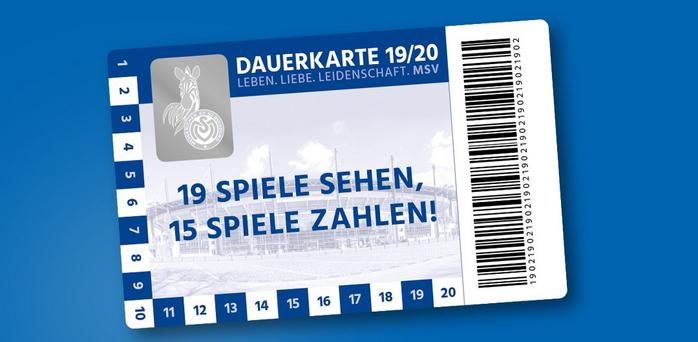 MSV Duisburg Dauerkarte 2019/2020 19 Spiele sehen, 15 Spiele bezahlen