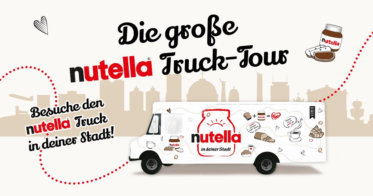 [LOKAL diverse Städte] Nutella-Trucktour mit GRATIS Nutella-Brot und Kaffee