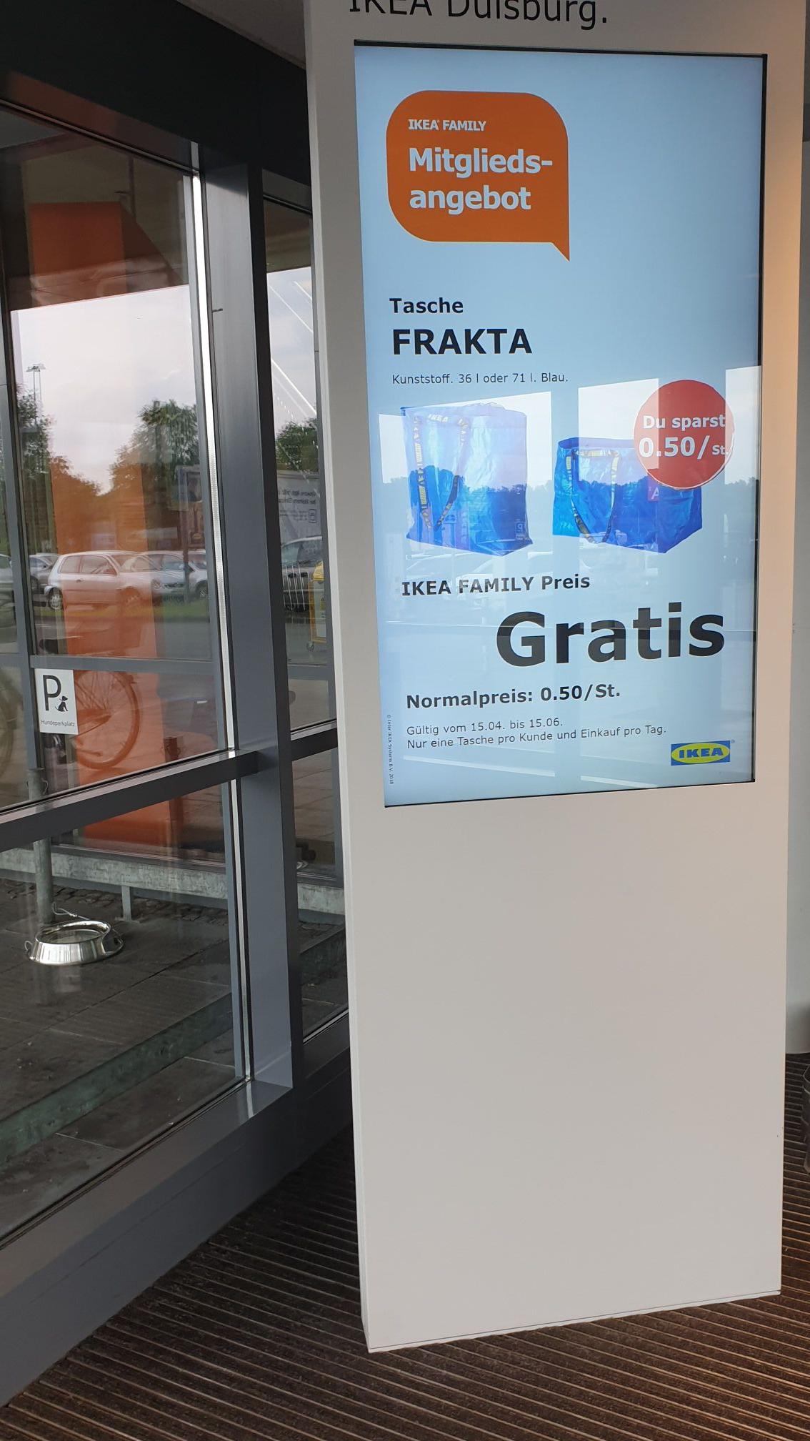 Gratis FRAKTA Tragetasche für Family Mitglieder bei IKEA (Lokal Duisburg?)