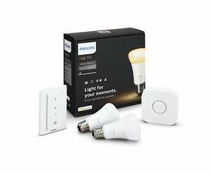 Philips Hue White Ambiance E27 9.5W Starter-Kit (2x Hue-Birne, Hue-Bridge, Hue-Dimmschalter)