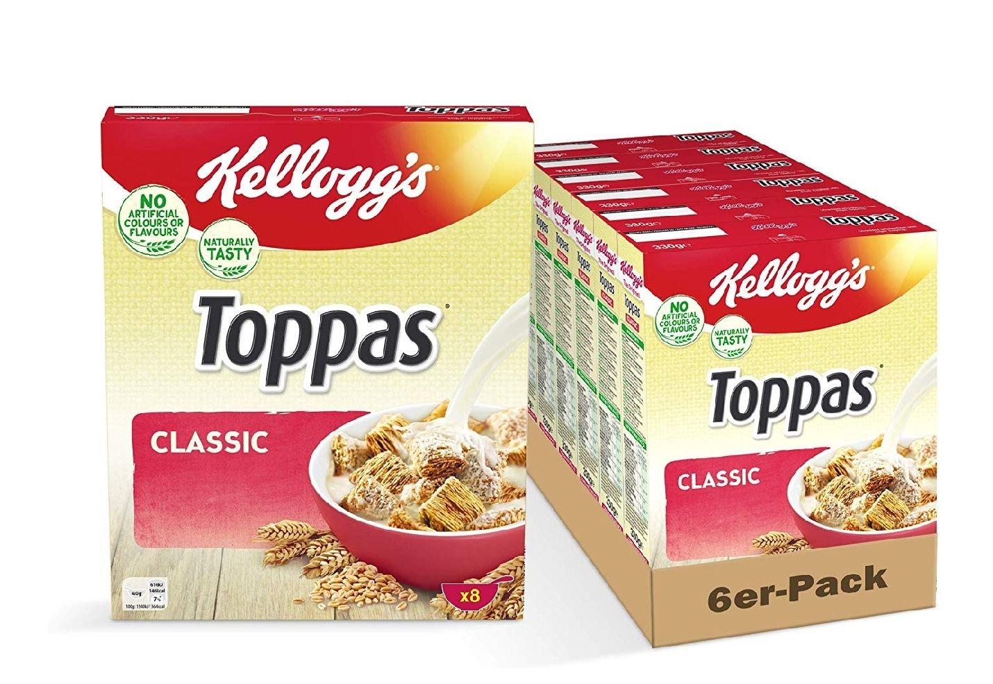 Kellogg's Toppas (6 x 330 g)   - Frühstückscerealien (Kellog Corn Flakes) 6er Pack Amazon Prime