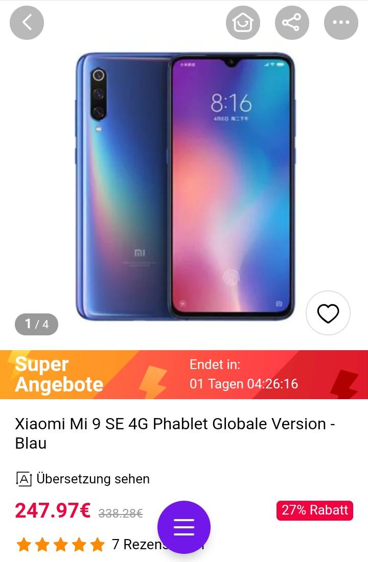 Xiaomi Mi 9 SE Global-Version 6gb/64gb in blau oder schwarz bei Gearbest