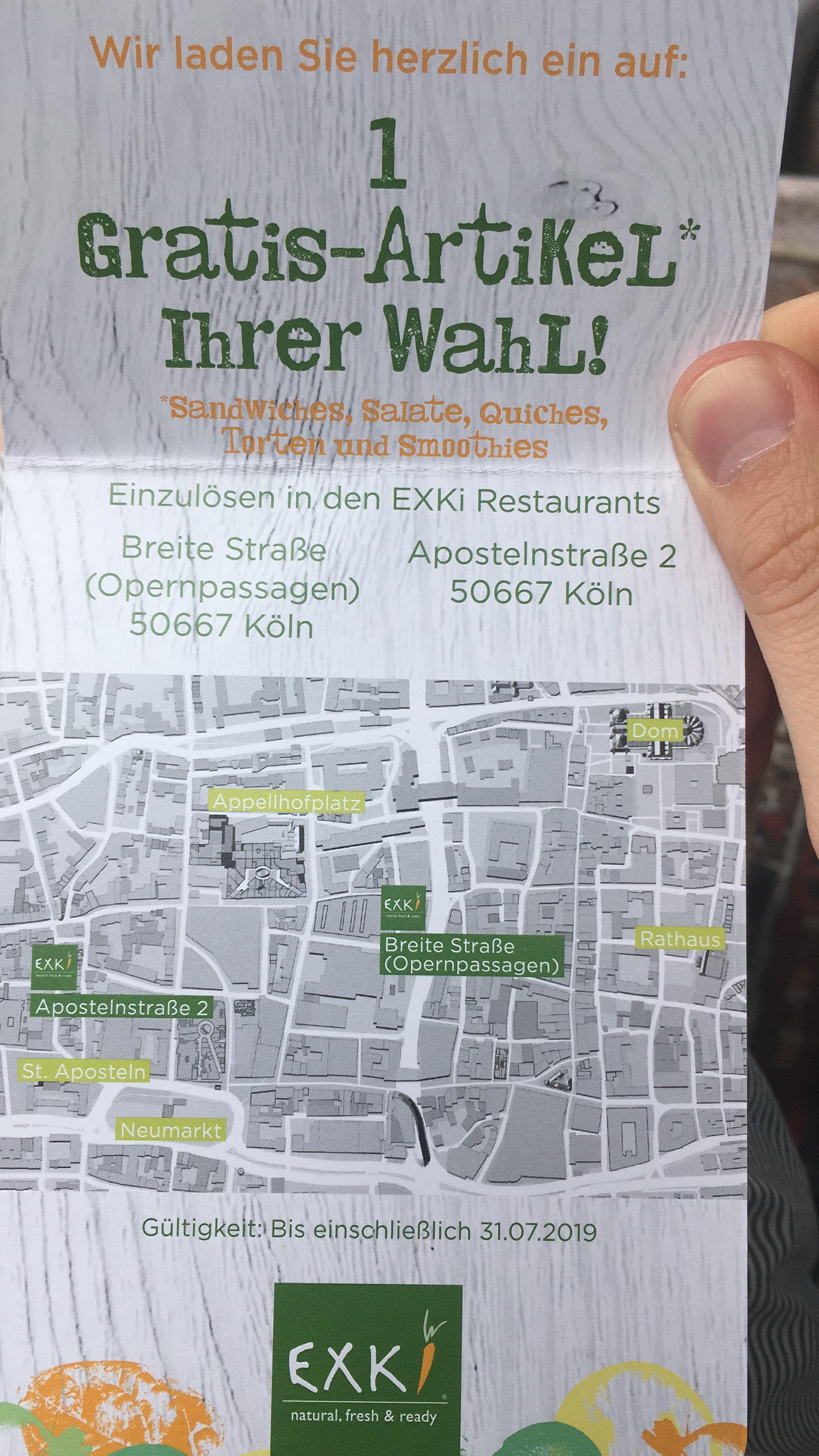 [Lokal Köln] Gratis Gericht bei Exki