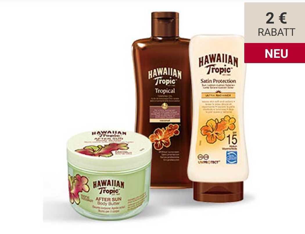 Hawaiian Tropic-Produkte im Angebot + 2€-App-Coupon bei Rossmann, z.B. After Sun Body Butter Exotic Coconut