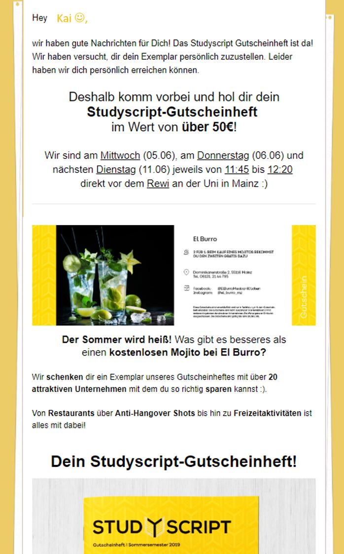 [LOKAL Mainz, Studierende] kostenloses Gutscheinheft, Wert: 50€
