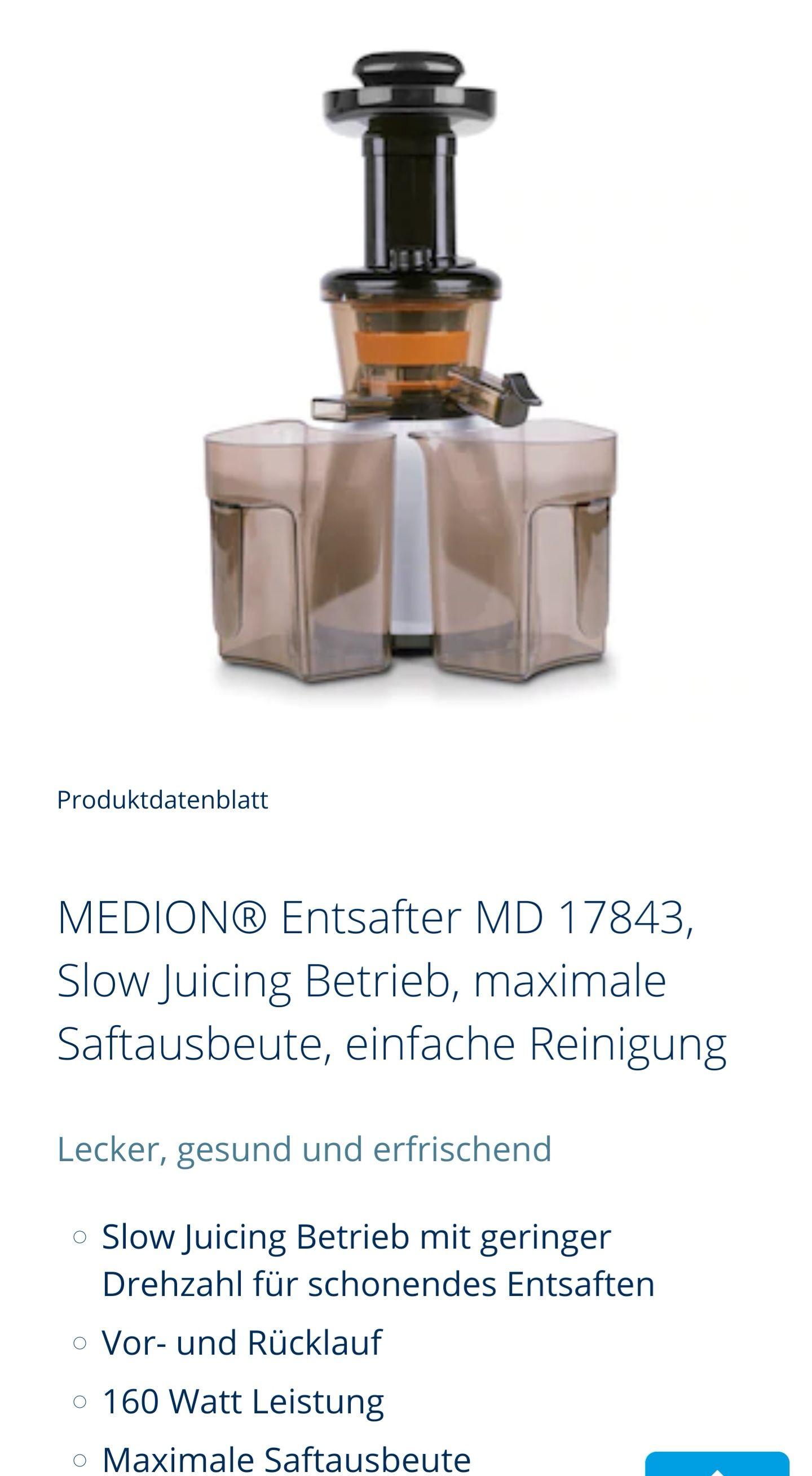 MEDION® Entsafter MD 17843, Slow Juicing Betrieb, maximale Saftausbeute, einfache Reinigung