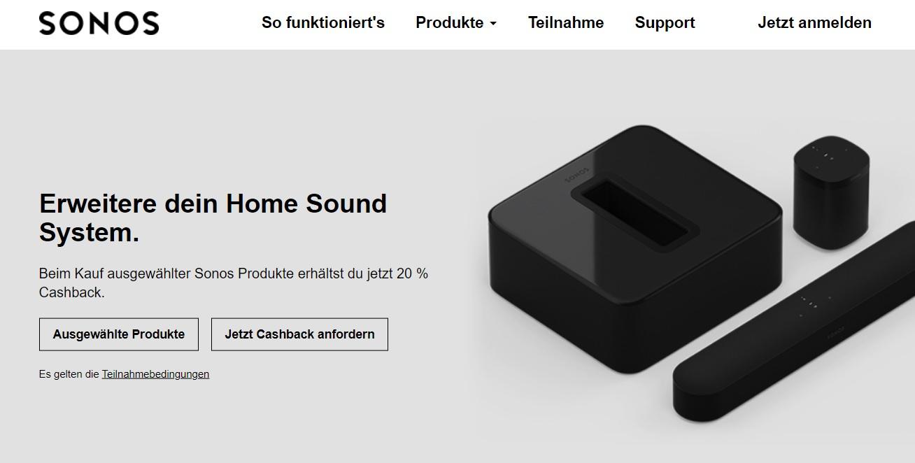 20% Cashback auf ausgewählte Sonos Produkte (z.B Beam, Play:1, 3, 5, Sonos One, Playbar usw.) bei MediaMarkt, Saturn, Cyberport, Conrad usw.