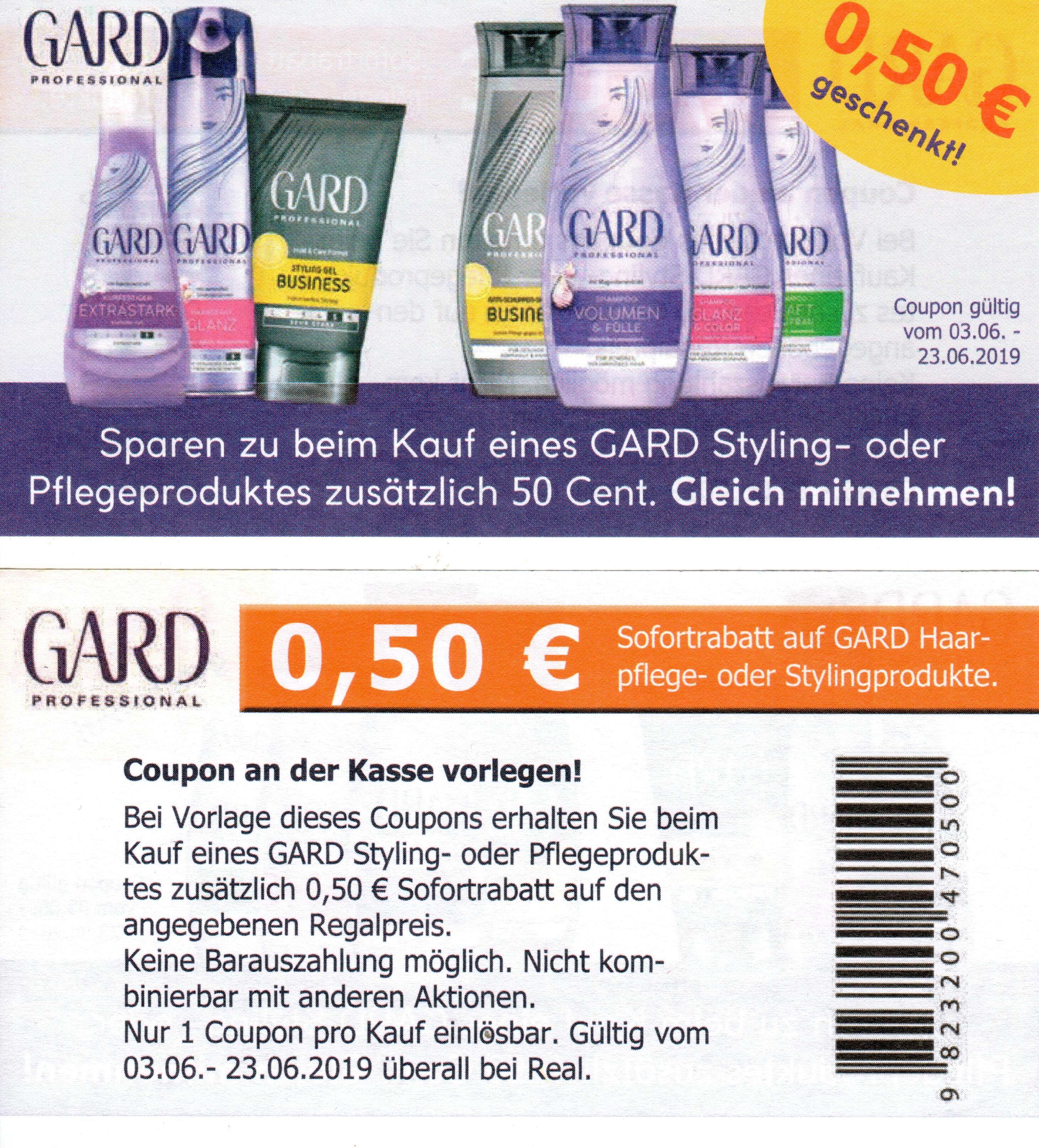 0,50€ Sofort-Rabatt Coupon für den Kauf von Gard Styling- oder Pflegeprodukte [REAL]