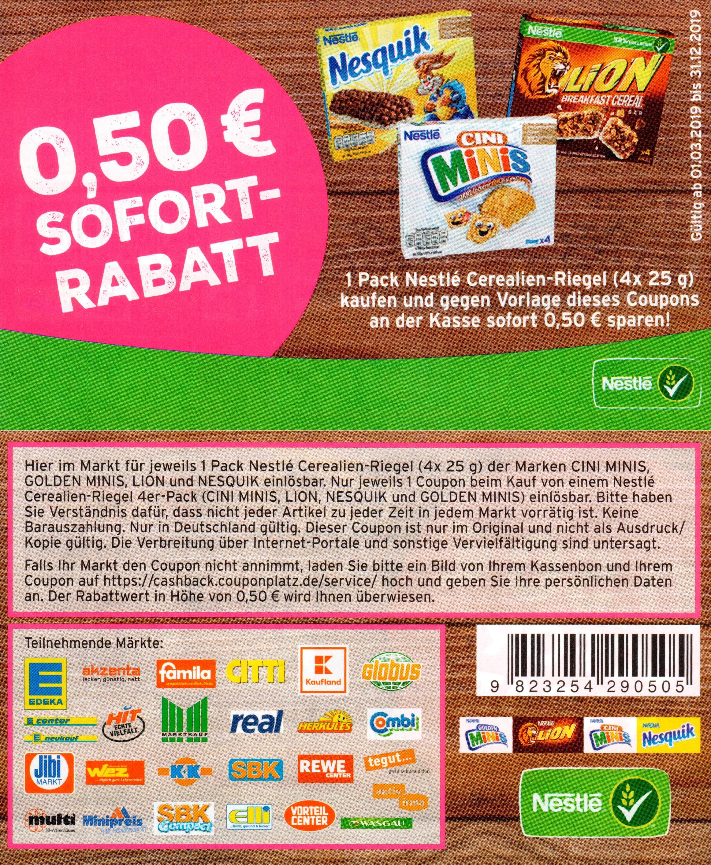 0,50€ Sofort-Rabatt Coupon für den Kauf einer Packung Nestlé Cerealien-Riegel bis zum 31.12.2019