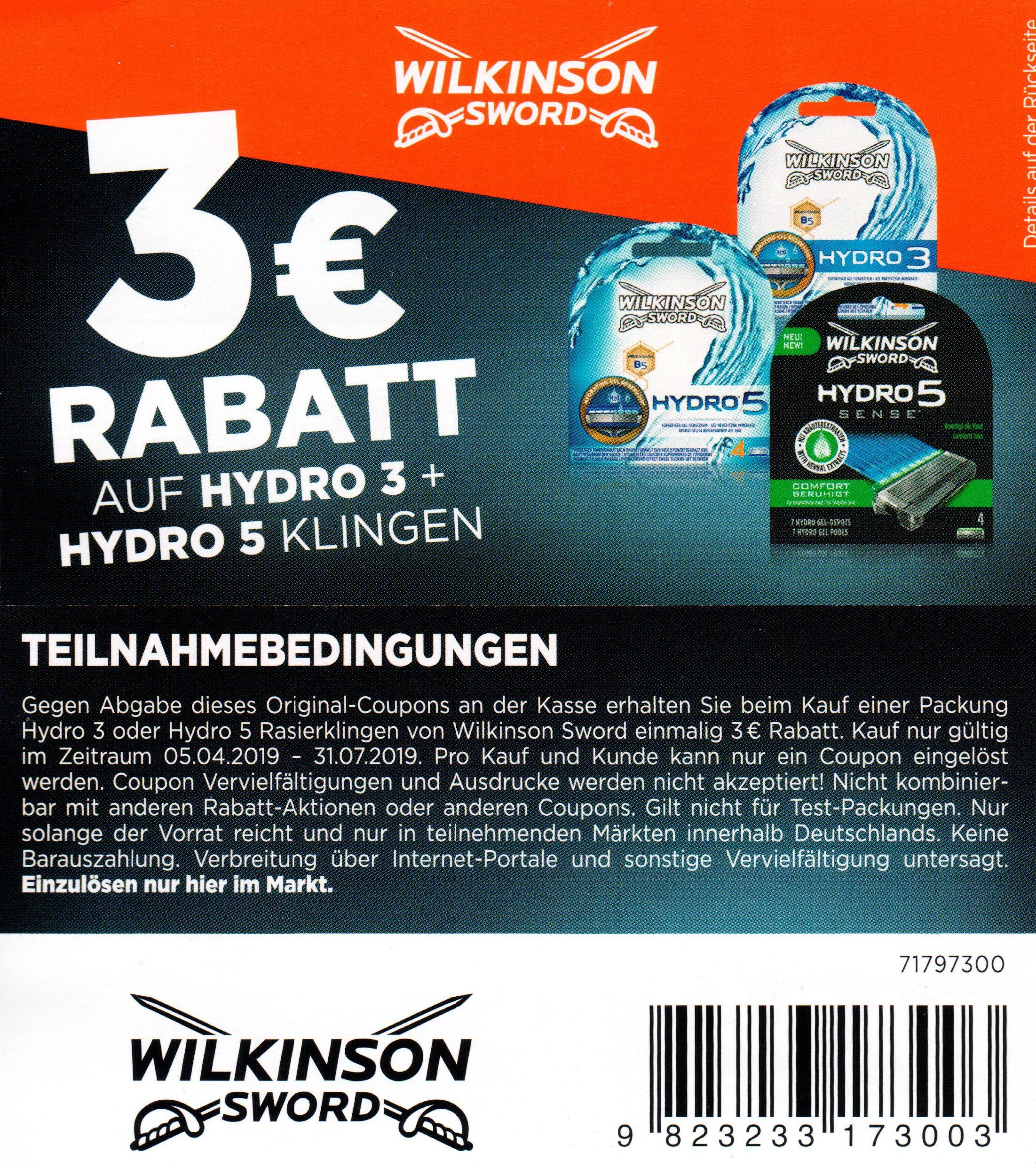 3,00€ Sofort-Rabatt Coupon für den Kauf von Wilkinson Hydro 3 oder Hydro 5 Klingen bis 31.07.2019