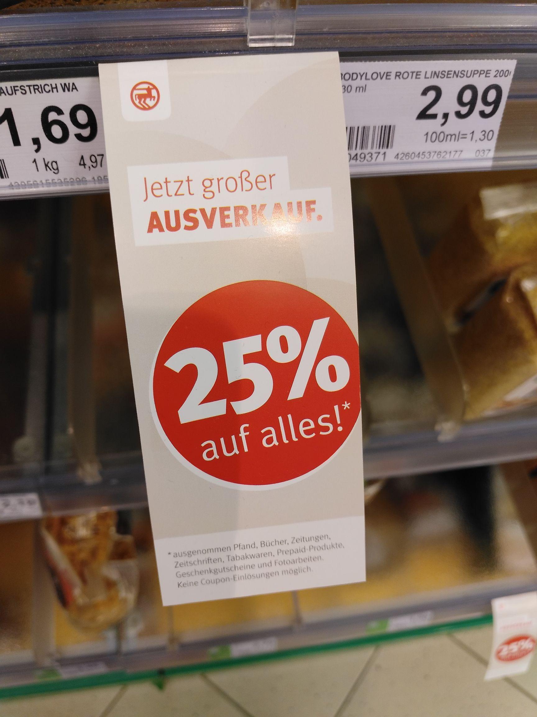 Update: Mittlerweile 50% // Rossmann 25% auf alles (lokal Bad Vilbel)