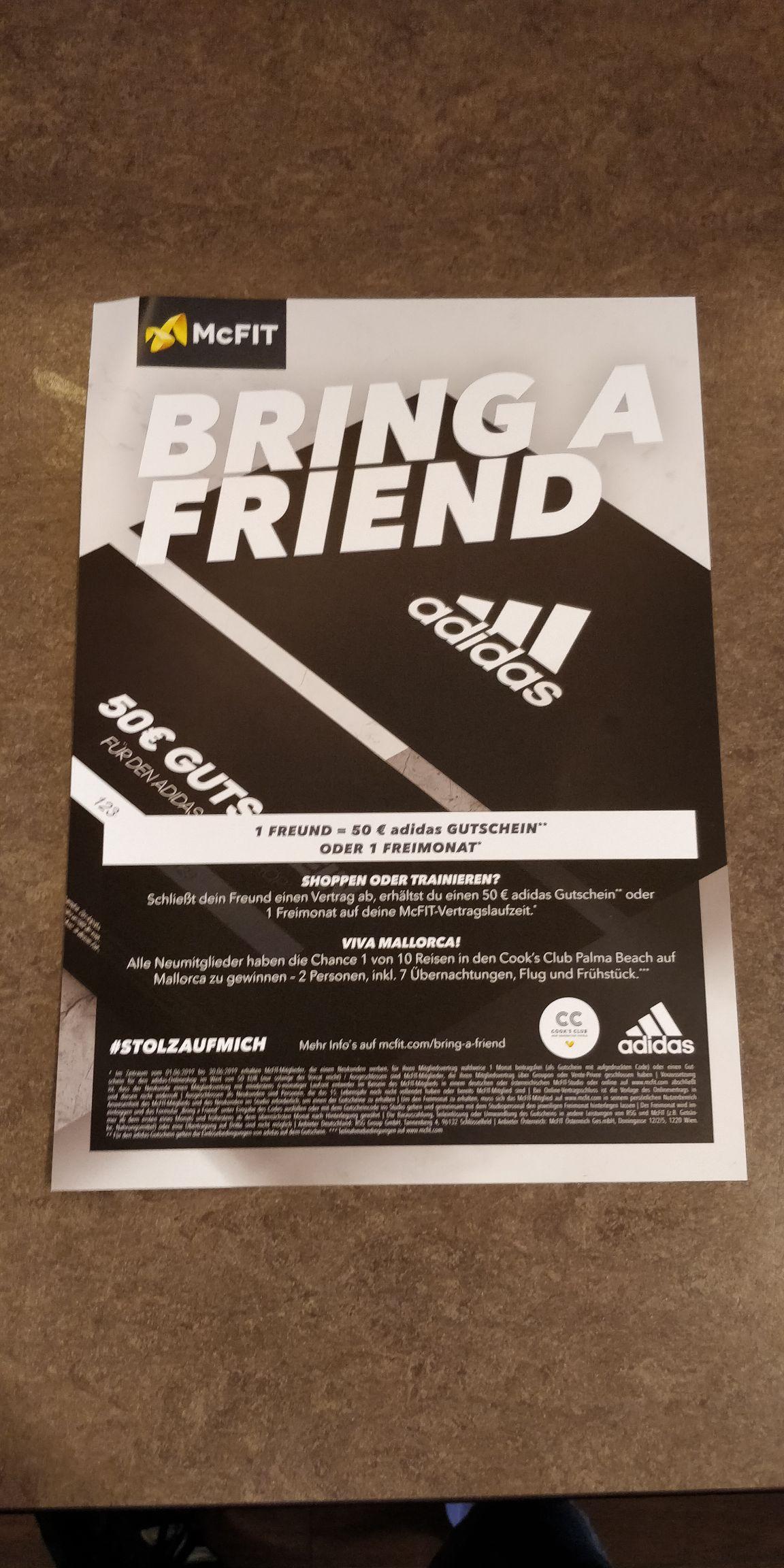 McFit Bring a friend Aktion mit Adidas Gutschein