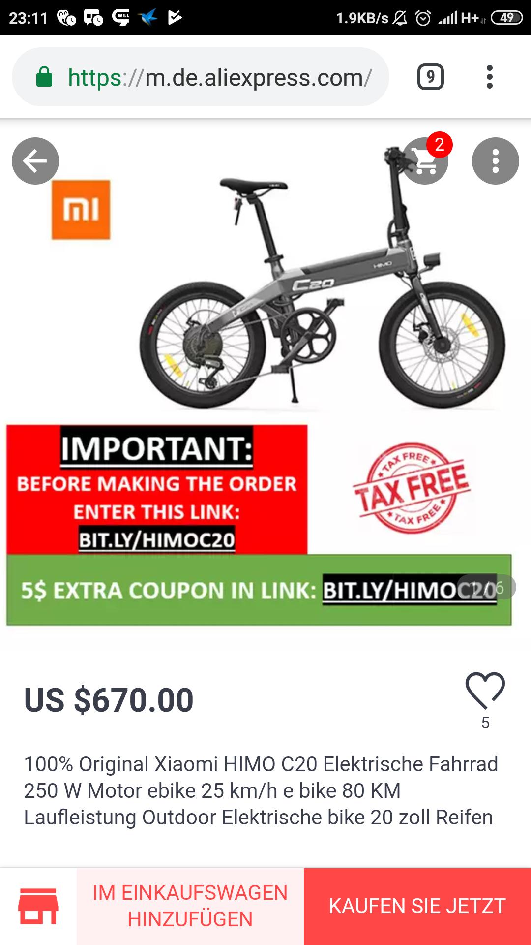 HIMO C20 Xiaomi Qicycle Fahrrad E-Bike