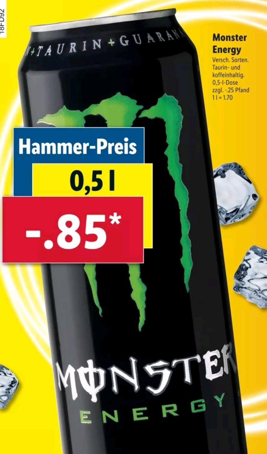 [Lidl] Ab 14.6 Monster Energy Drink 0.5L für je 0.85€