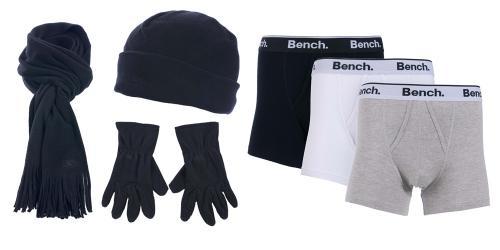 [Play.com] Tresspass Mütze + Schal + Handschuhe für 8,99 Euro // 3x Bench Boxershorts für 14,99 Euro VSK FREI