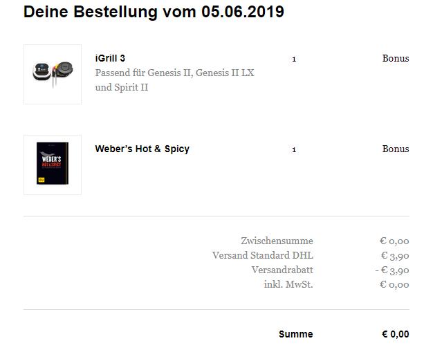 Gratis Weber iGrill 3 und Kochbuch nach Wahl für Registrierung mit Weber-ID