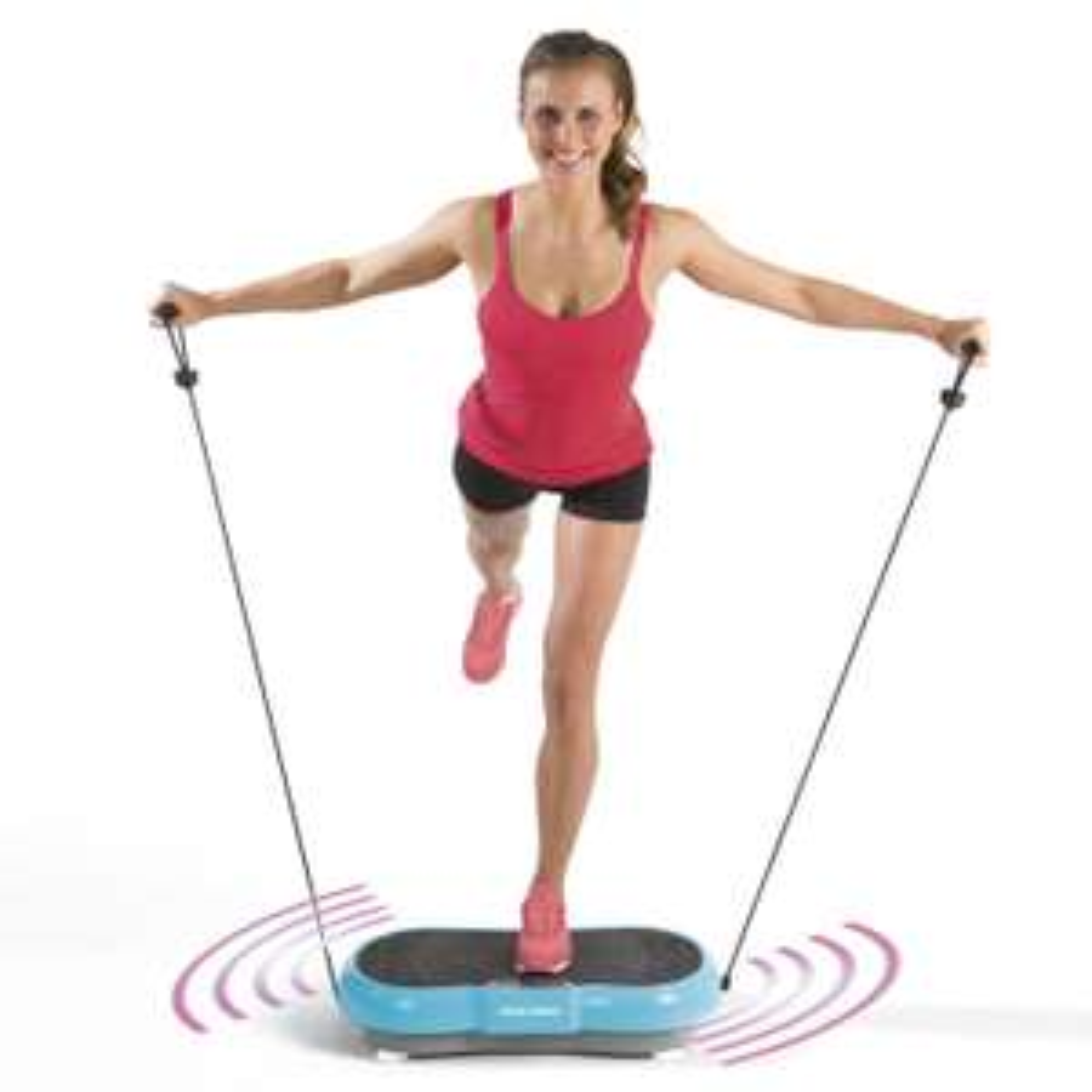 VITALmaxx Vibrationstrainer (99 Stufen, 9 Programme, drei Zonen, rutschfest, Display, Trainingsbänder, Fernbedienung, bis 120kg)