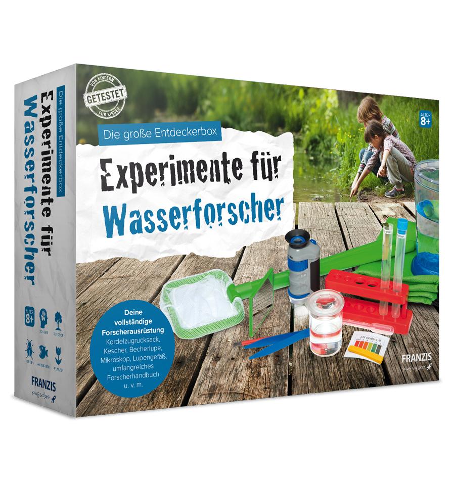 Franzis: Die große Entdeckerbox - Experimente für Wasserforscher (Kordelzugrucksack, Kescher, Becherlupe, Mikroskop, Lupengefäß, uvm)