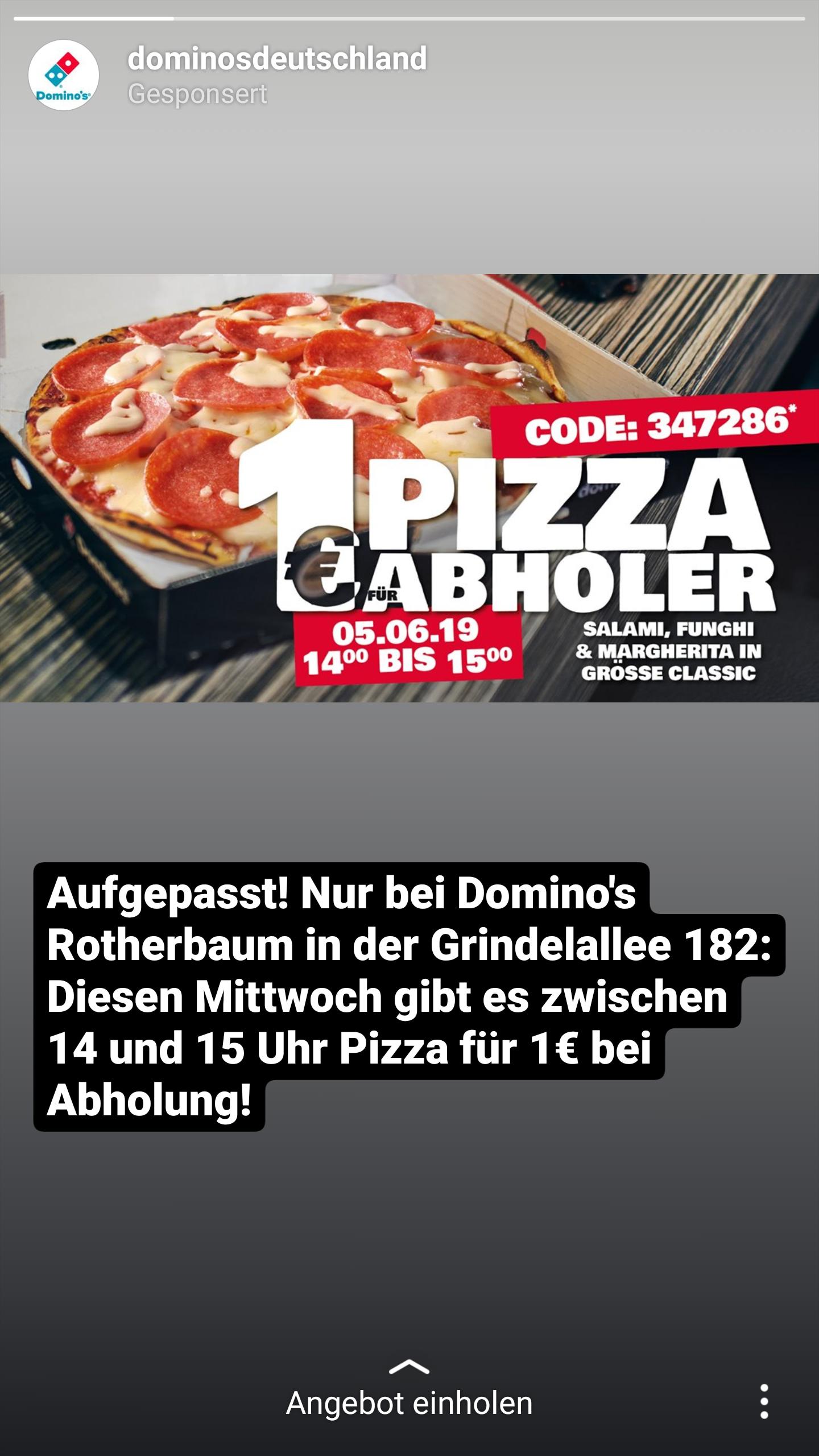 Lokal Hamburg - Grindelallee Dominos Pizza Classic 14-15 Uhr nur 1€