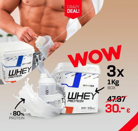 [bodylab24] 3x 1kg Whey Protein (80% Proteingehalt) für 27€ + 4,90 VSK (frei ab 50€)