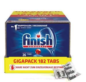 Finish Powerball All in 1 Gigapack mit 7 x 26 Tabs (182 Stück, 0,05€ / Tab) oder Finish Classic mit 6 x 32 Tabs (192 Stück))