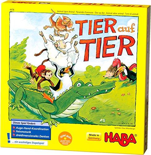 (Prime) Haba 4478 - Tier auf Tier, Stapelspiel für 2-4 Spieler ab 4 Jahren, mit Tierfiguren aus Holz, auch spielbar als Solospiel