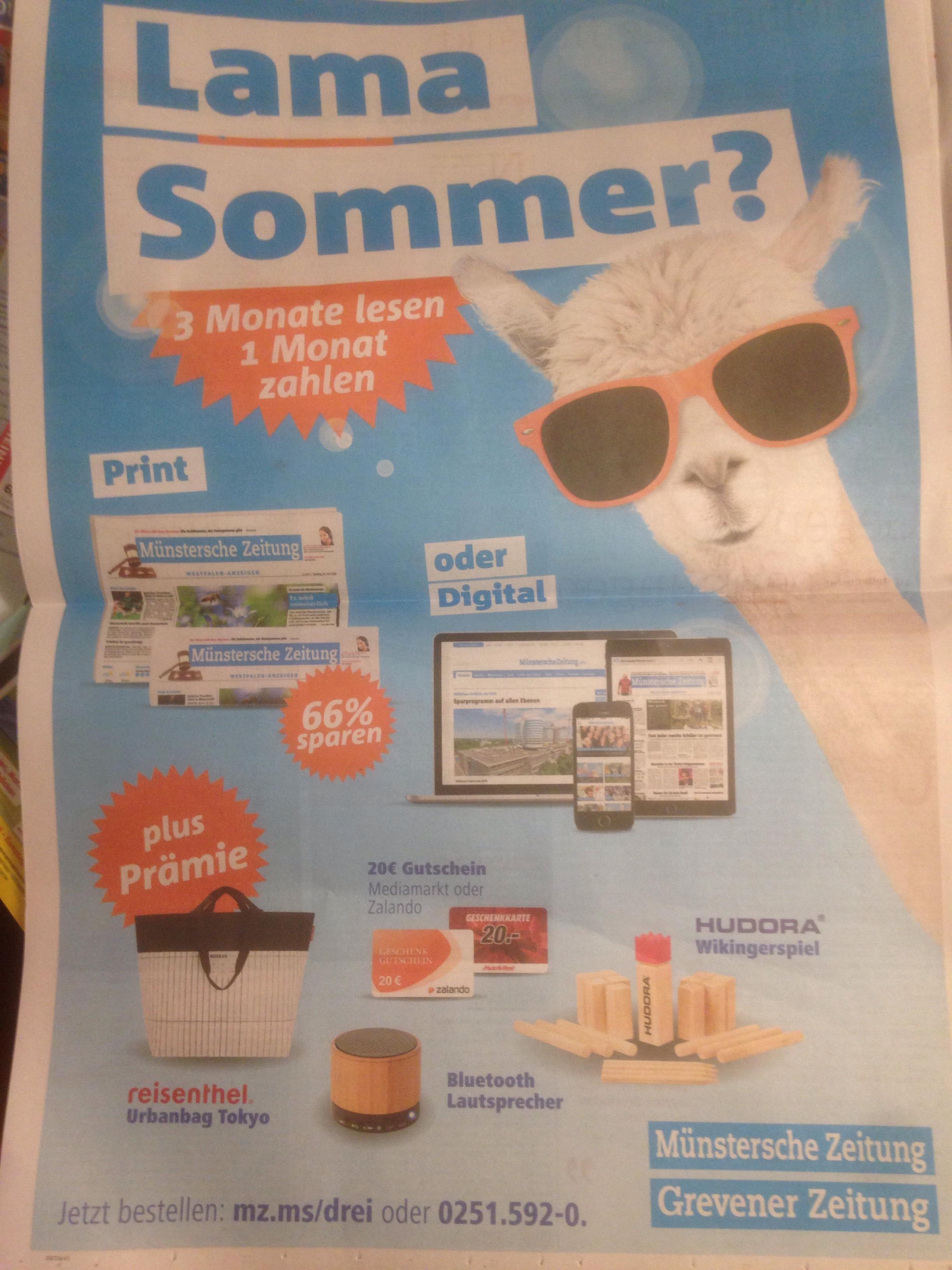 [lokal] Münstersche Zeitung 3 für 1 plus 20€ Gutschein von Mediamarkt oder zalando