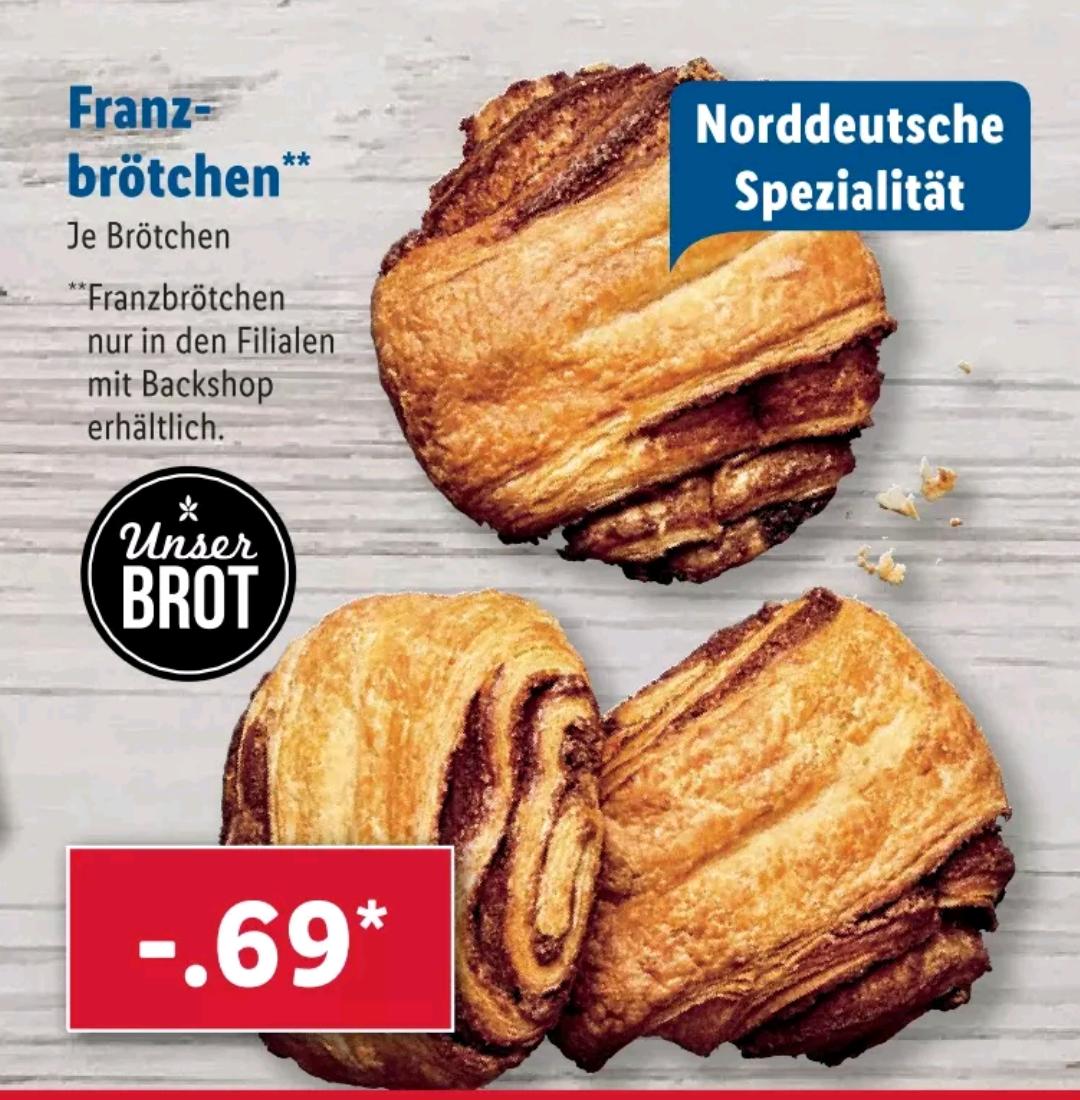 [Ab 11.06] [Lidl Backshop] Franzbrötchen zu 0,69€/Stück