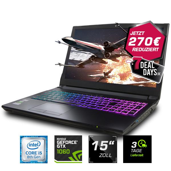 """Venus Gaming Laptop auf Clevo N957TP6-Basis (15.6"""", IPS matt, FHD, 60Hz, i5-8400, 16GB RAM, 500GB SSD, GTX 1060 6GB, Z370, 62WH-Akku)"""