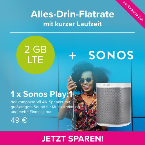 Sonos Play:1 nur 119€ statt 162€ dank Blau Tarif mit 6 Monaten Laufzeit (o2-Netz)