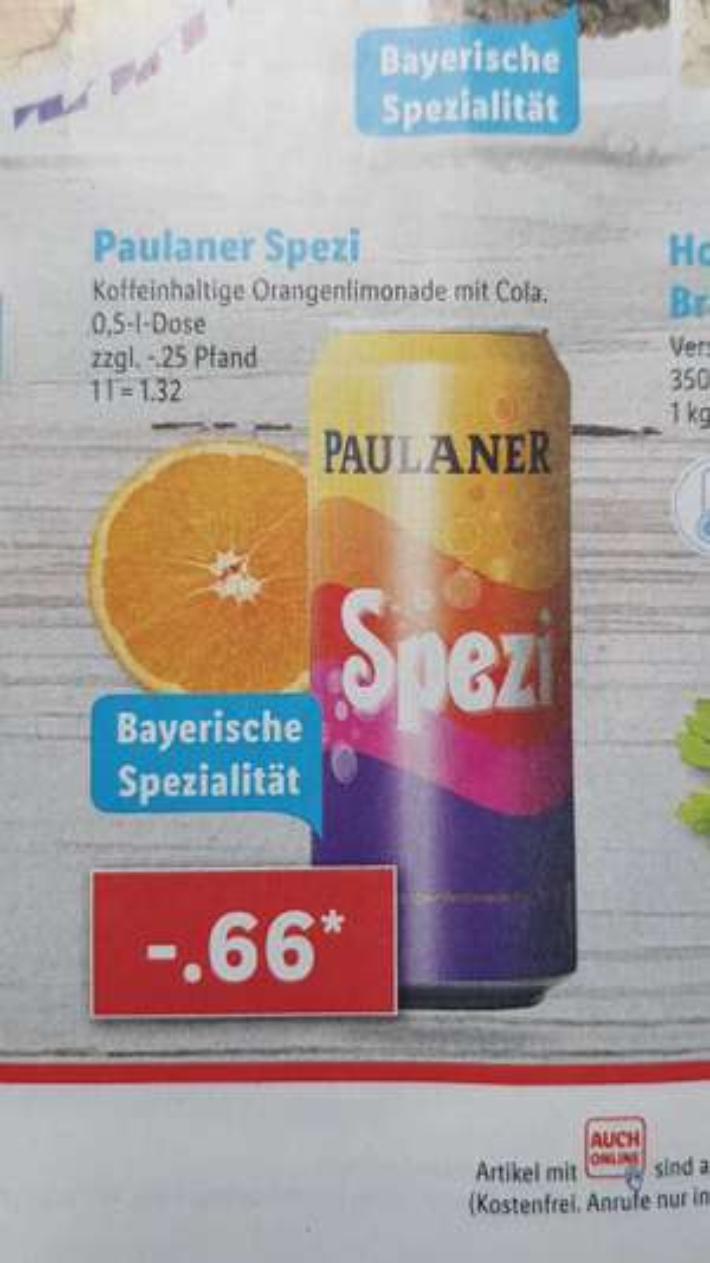 Paulaner Spezi 0,5l Dose 0,66€ zzgl. 0,25€ Pfand