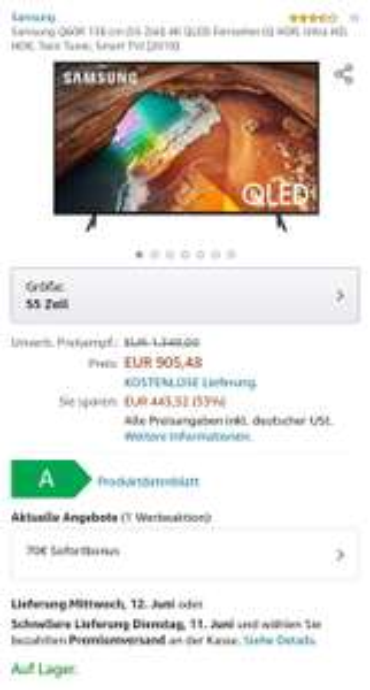 Samsung Q60R 138 cm (55 Zoll) 4K QLED Fernseher (Q HDR, Ultra HD, HDR, Twin Tuner, Smart TV, UHD) [2019]