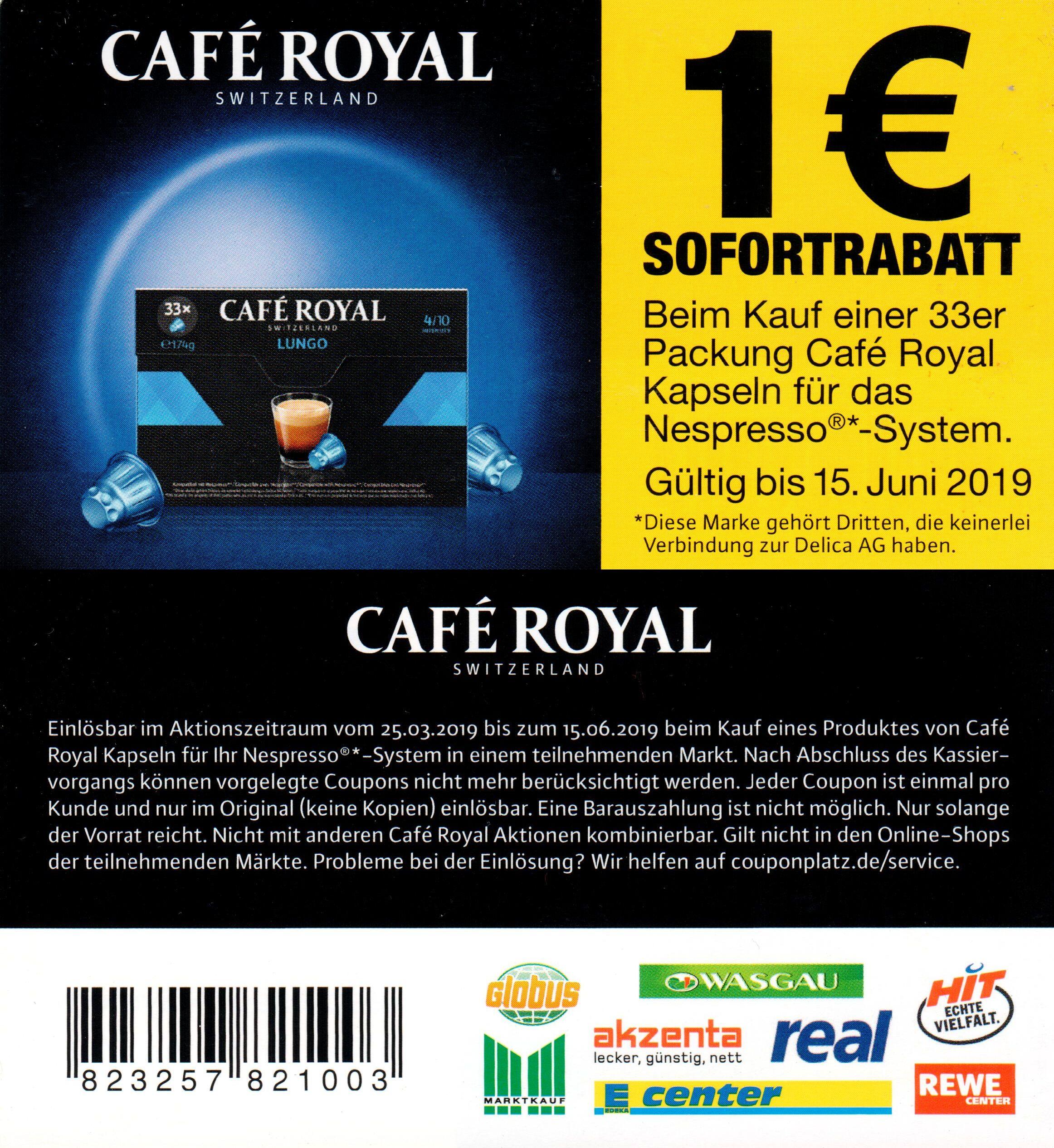 Café Royal - 3 verschiedene Sofort-Rabatt Coupons 0,50€ / 0,80€ / 1,00€ bis 15.06.2019