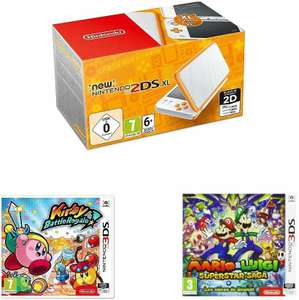Nintendo New 2DS XL weiß-orange oder schwarz-türkis + Mario & Luigi: Superstar Saga + Bowsers Schergen + Kirby Battle Royale (Amazon.fr)