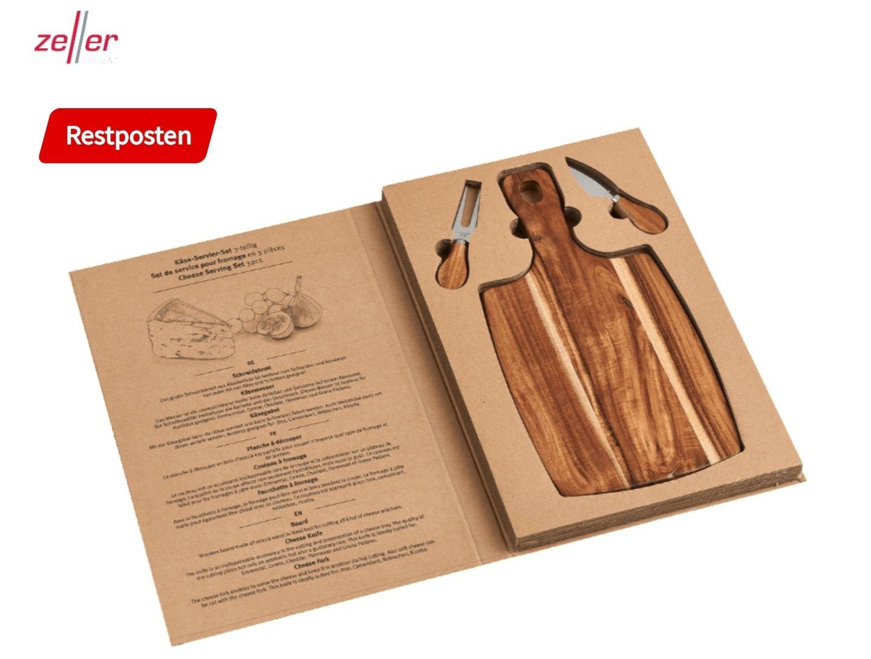 Zeller 25597 Käseschneidebrett inkl. Käsegabel und Spatenmesser, super als Geschenk!