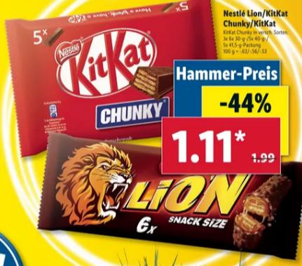 [Lidl] KitKat / KitKat Chunky oder Lion für 1,11€ oder Pepsi / 7Up / Mirinda 1,5l für 0,49€ ab 21.06.