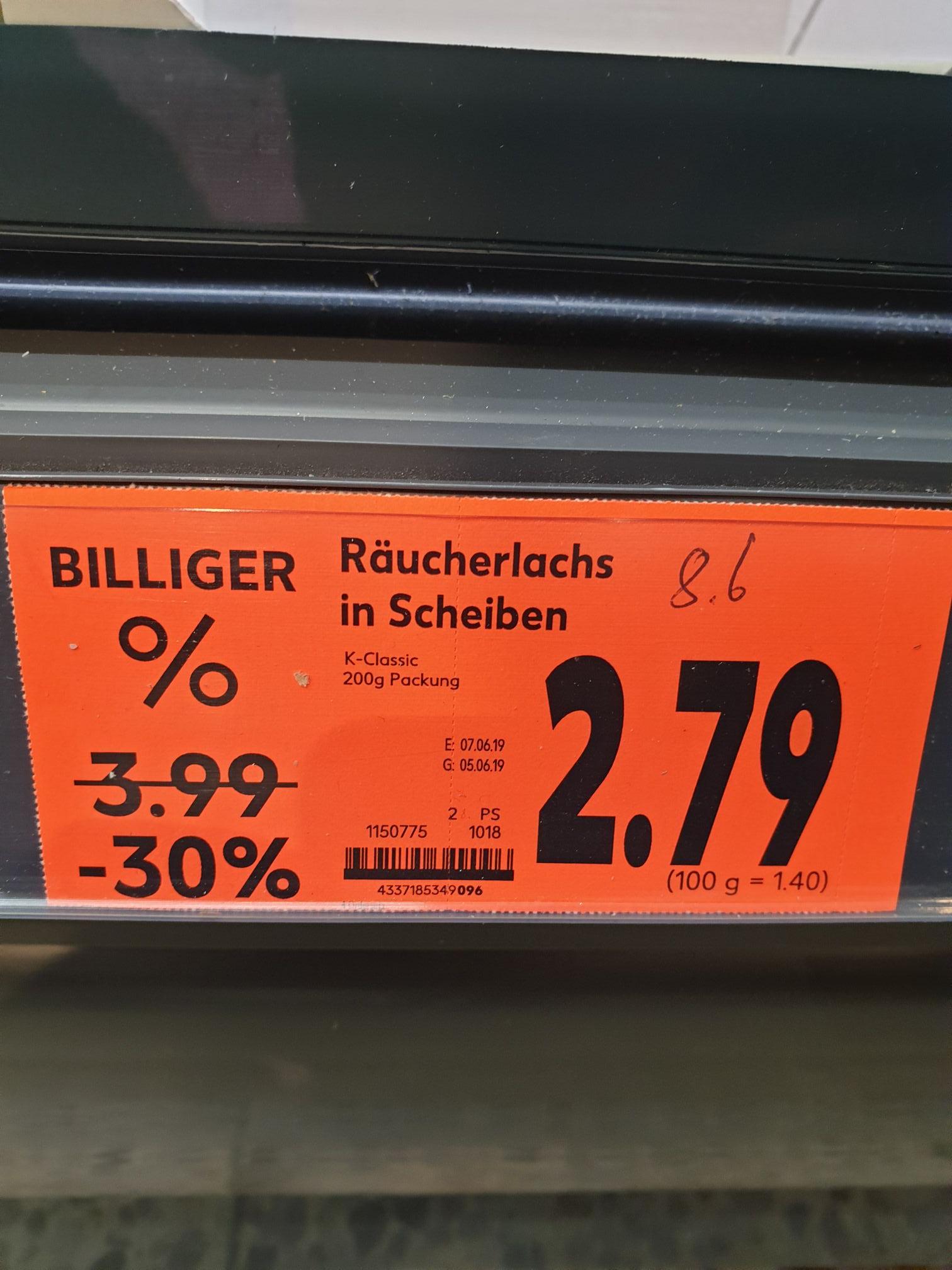 [Lokal München] Räucherlachs in Scheiben 200g für 2,79€, Kaufland PEP