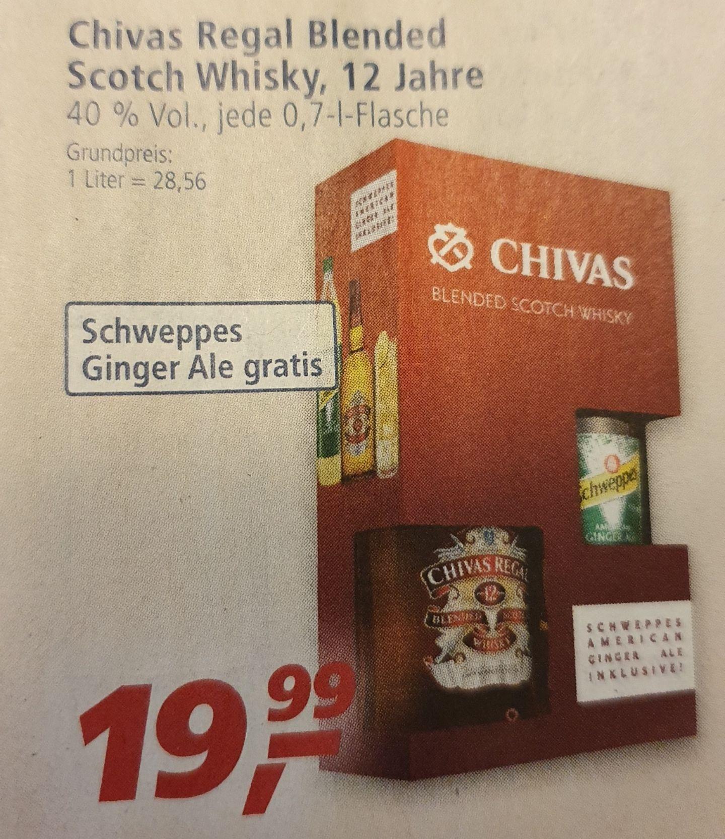 [Real] Chivas Regal Blended Scotch Whisky, 12 Jahre 0,7 + gratis Schweppes Ginger Ale