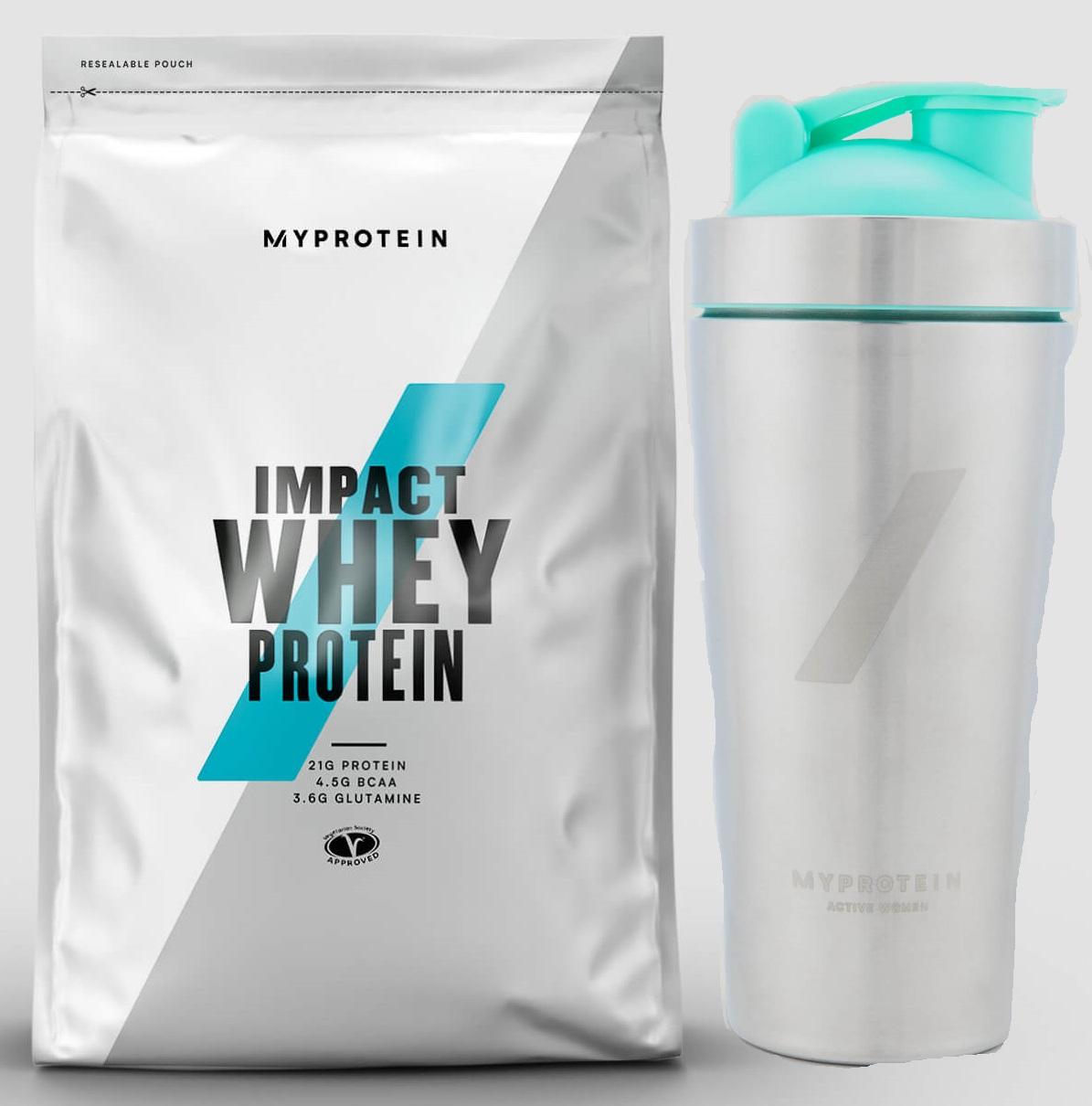 Whey für ~9€/kg bei Myprotein AT: 5kg Impact Whey Protein + Metal Shaker für 50,48€