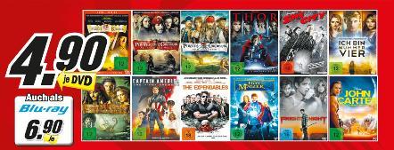 Fluch der Karibik 1-4, The Expendables, Thor  Blu-rays @MediaMarkt Dorsten