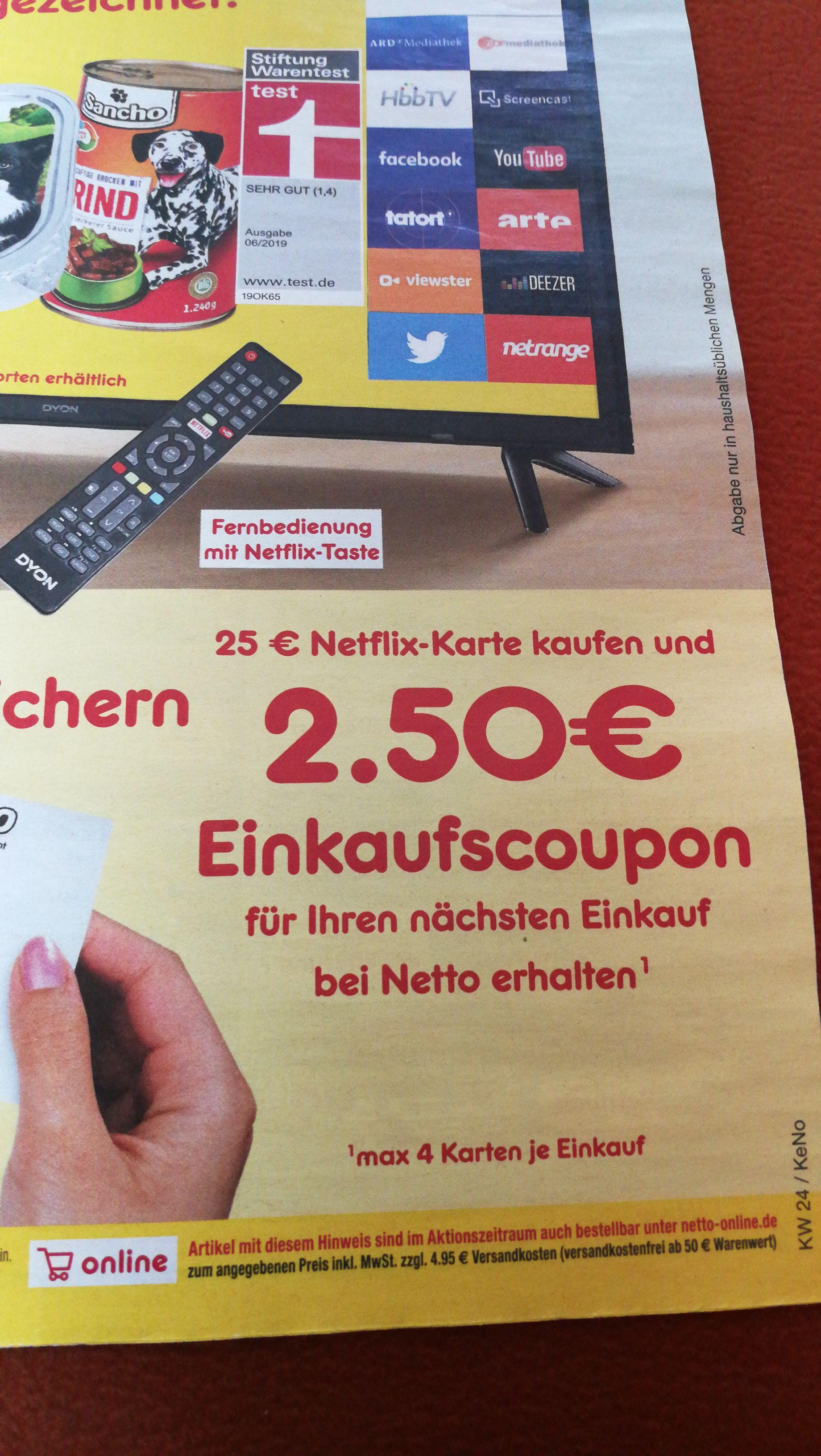 Netflix-Guthaben 25€ +2,50€ Einkaufsgutschein im Netto MD