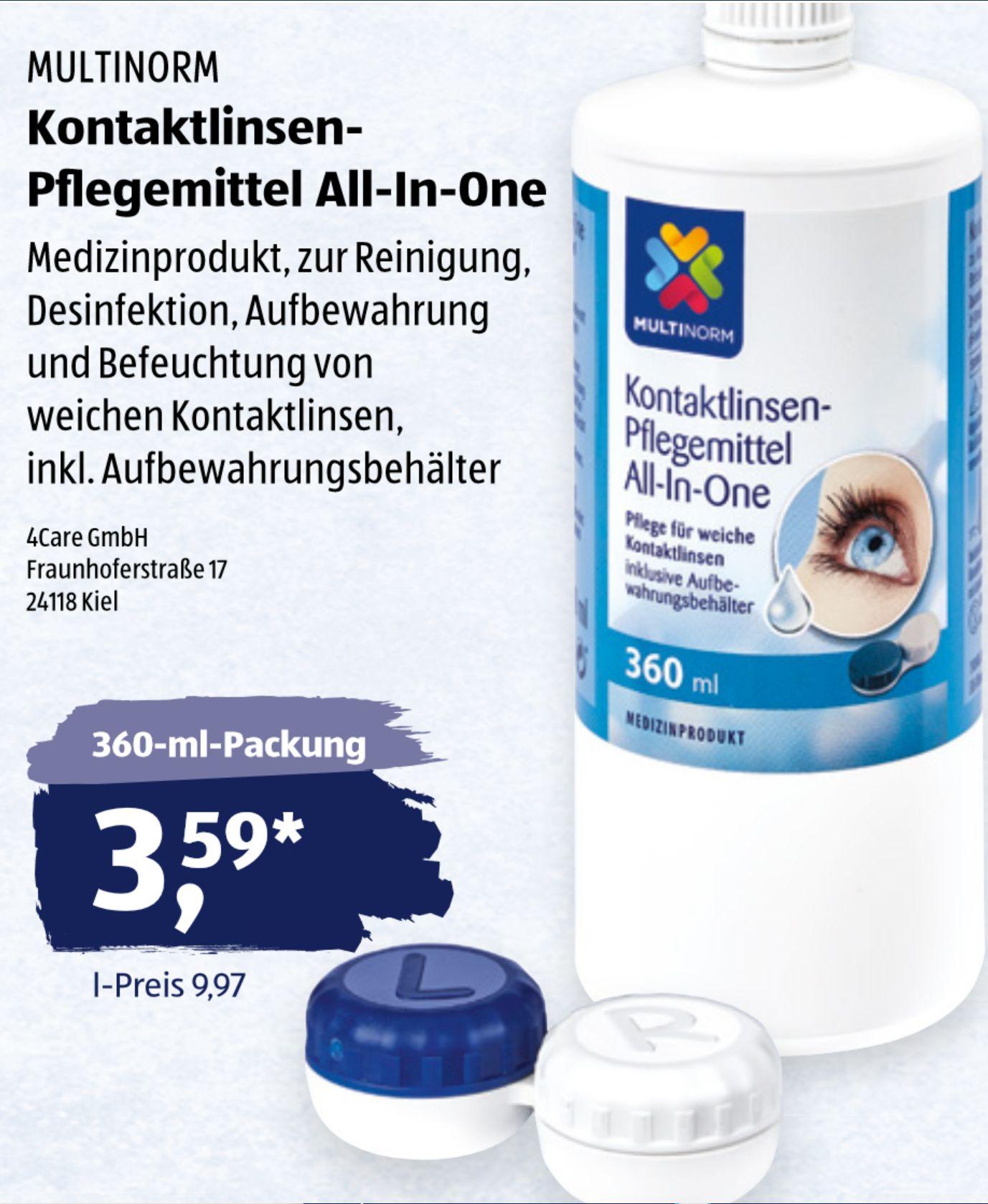 Kontaktlinsen-Pflegemittel All-in-One inklusive Aufbewahrungsbehälter (für weiche Linsen) ab dem 13.06. bei Aldi Süd